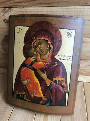 """Antique 19c Russian Orthodox Hand Painted Wood Icon """"The Virgin of Vladimir"""""""