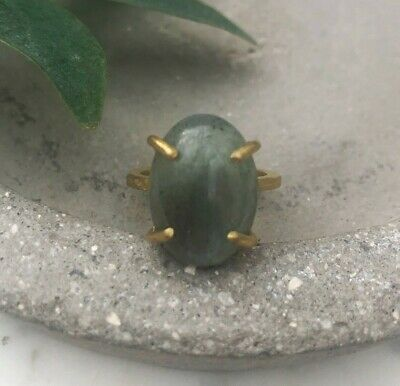 Size 9 Labradorite Oval Gem Brass Claw Setting Cocktail Ring Gold Earthy Gray