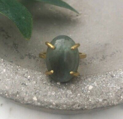 Size 8.5 Labradorite Oval Gem Brass Claw Setting Cocktail Ring Gold Earthy Gray