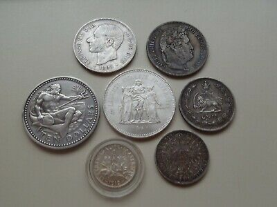 5 Oz Old World Silver Coin Lot - 1800s-Crown Size Coins Uncommon Rare Lot Sale