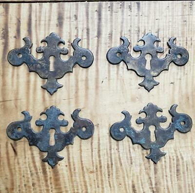 Set of 4 Original Antique Brass Chippendale Escutcheons