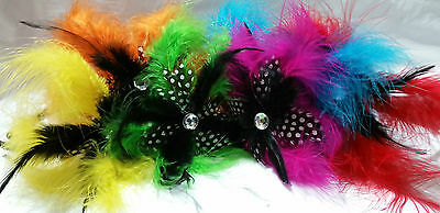 Various Coloured Feather Fascinator A Stone in the Middle on a Headband