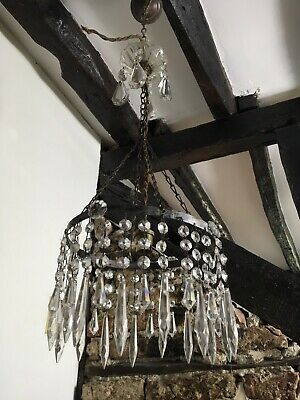 Vintage French  Light Crystals Brass Very Very Rare Light   Stunning Item