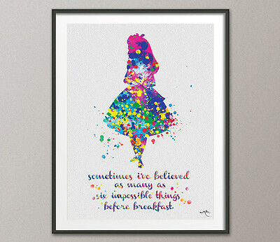 Alice in Wonderland Six impossible Things Quote Watercolor Print Nursery Decor