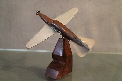 Avion Vintage en métal et acajou aviation mahogany metal plane