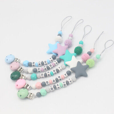1X(Baby Pacifier Clip Chain Cute Five Star Silicone Beads Teething PacifierZ4D8)