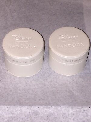 Pandora Lot Of 2 Disney Limited Edition Round Charm Boxes Empty Gift Boxes Rare