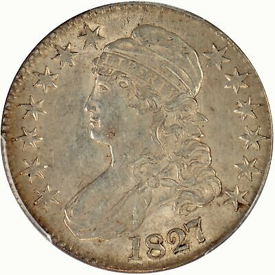 1827 50C Capped Bust Half Dollar PCGS AU55 CAC, Square Base 2