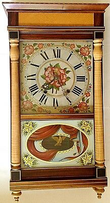 Column And Cornice Shelf Clock Made From Figured Wood, 30-Hr. Wood Mov't Ca 1830