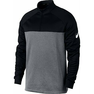 Nike Therma Mens 1/2 Zip Golf Pullover 854498 010 Black Heather SZ. LARGE