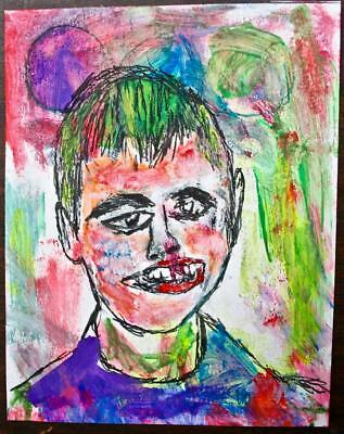 """ Crooked Joe"" Chuck Greatrex 5 1/2"" X 7"" Original Painting Outsider Nice!"