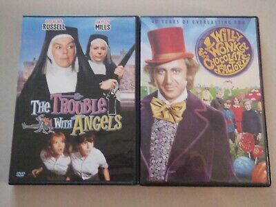 Willy Wonka Chocolate Factory Gene Wilder Trouble With Angels 2 DVD Lot Classics