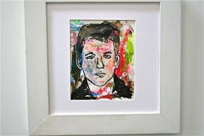"""RICK"" CHUCK GREATREX 5"" x 6 3/4 ""ORIGINAL FRAMED PAINTING OUTSIDER NICE!"