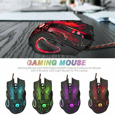 Adjustable 2400DPI 6 Buttons Optical USB Wired Gaming Mouse LED for Laptop F4I7