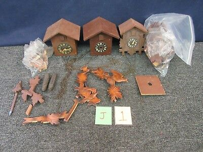 3 Vintage Cookoo Clock Germany Wall Part Weights Movement Restore Parts