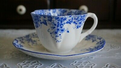 VINTAGE Shelley Bone China Dainty Blue Cup and Saucer, England