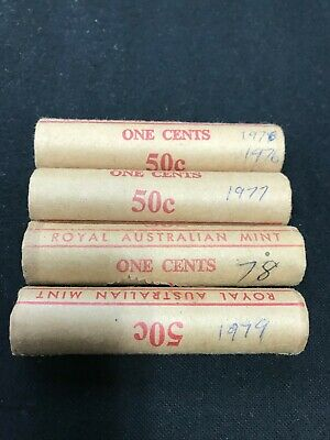 4 x 1 cent coin mint rolls 1976, 1977, 1978, 1979, Royal Australian Mint