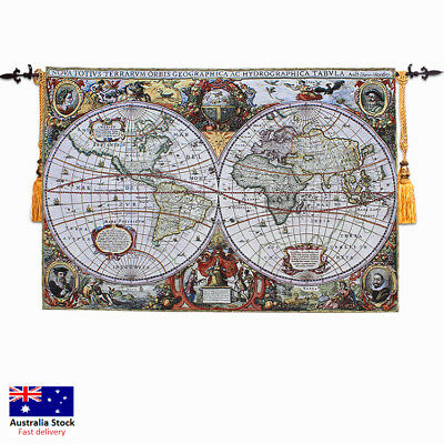 Medieval Ancient World Map wall hanging tapestry woven cotton 120*180cm