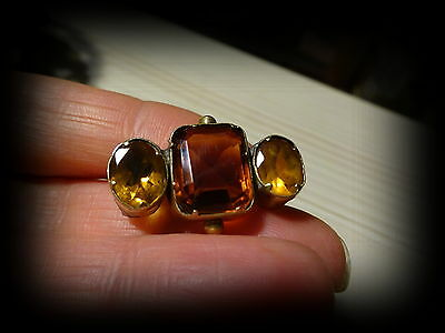 Antique Victorian Yellow Metal Citrine 3 Stone Pin Brooch