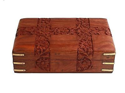 Wooden Jewelry Box Decorative Trinket Handmade Carved Storage Gift Box
