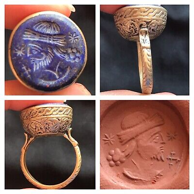 Excellent King Face Intaglio Lapiz Lazuli Stone Craved Mix sliver Ring