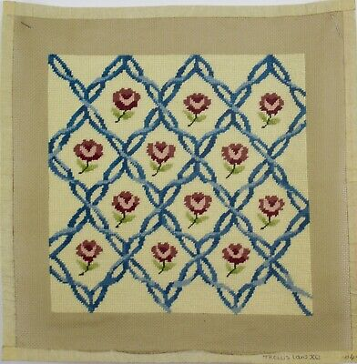 antique needlepoint floral wool tapestry chair seat cushion louis xv trellis