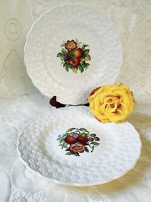 "Set of 2 Spode Copeland Alden 9"" Luncheon Plates S2280 Embossed Daisy Fruit pear"