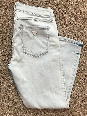 9ee176543c Womens Guess Los Angeles Crop Distressed Ripped Light Wash Jeans Size 30/25  NICE