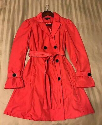Bebe Hot Pink Coral Geranium Spring Satin Sateen Belted Trench Coat Small