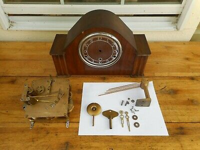 Vintage UK BENTIMA PERIVAL Mantel Clock WESTMINSTER Chime Mid Century FOR REPAIR