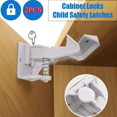 2pcs Invisible Child Safety Lock Buckle Baby Security Cabinets Door Drawer Latch