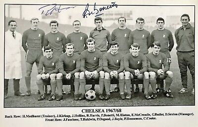 Peter Bonetti & Ron Harris HAND SIGNED Chelsea 1968 Photograph *In Person* COA