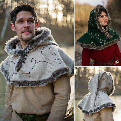 Medieval Fur Lined Hood with Mantle for Costume, Stage, Re-enactment & LARP