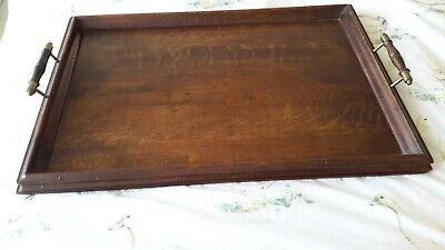 Vintage Wooden Tray Brass Turned Timber Handles 1930's  40s