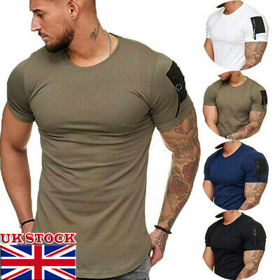 Mens Short Sleeve Tee Shirt Slim Fit Casual Blouse Top Summer Clothing Muscle ~