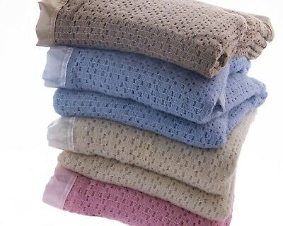 Wool Cellular Blanket Traditional Luxury Lightweight Satin Ribbon Trim 4 Colours