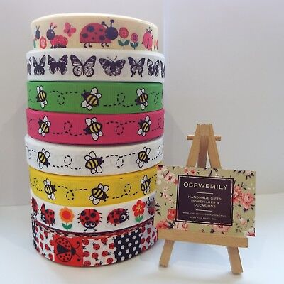 PER Metre BEE BUTTERFLY LADYBIRD  Printed Grosgrain ribbon 22/25mm Hairbow Craft