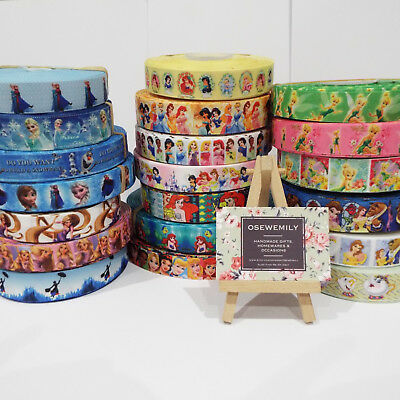 Per Metre Disney / Pixar Princess Grosgrain ribbon 22/25mm Party Cake/ Hair Bows