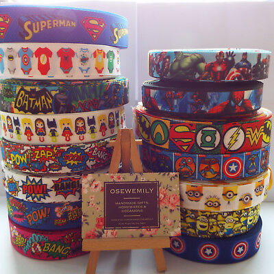 Per Metre Superheroes Grosgrain ribbon 22/25mm Party Cake/ Hair Bows/ Gift Wrap