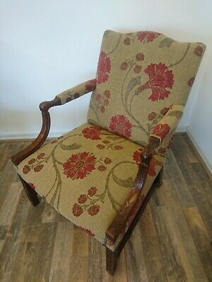 Victorian antique Gainsborough carved Chinese chippendale armchair