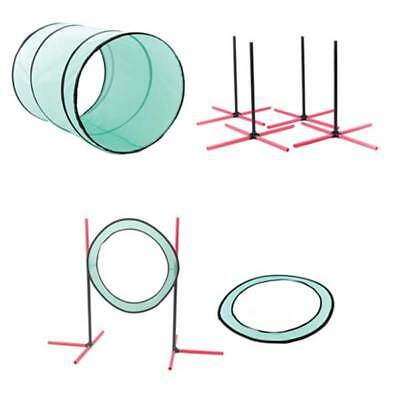 Dog Agility Training Kit Jump Ring Tunnel Weaving Poles Pause Circle Garden Club
