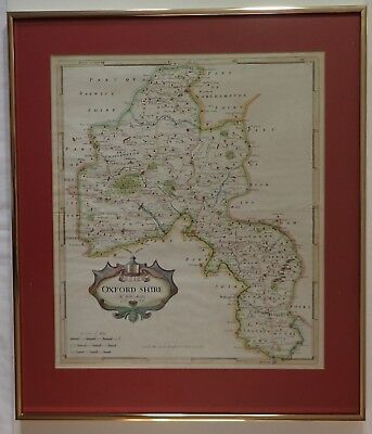 Robert Morden 1695 Hand Colored Map Oxfordshire Oxford Shire Framed Genealogy