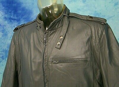 7d1a4fdb46a9 ViNTAGE 80s MEMBERS ONLY GRAY LEATHER CAFE RACER BOMBER JACKET COAT 48