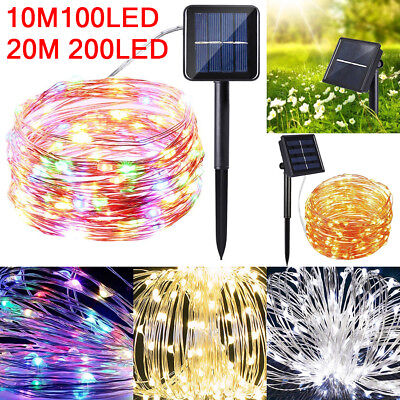 100/200LED Solar String Lights Waterproof Copper Wire Fairy Outdoor&Garden Xmas