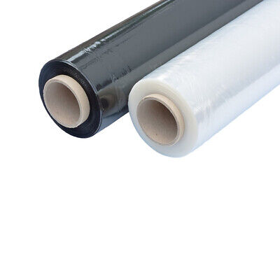 400mm STRONG CLEAR/BLACK PALLET STRETCH SHRINK WRAP CAST 17 Micron ROLLS