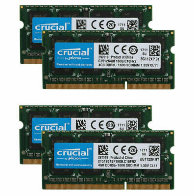 Crucial 40GB 16G 8GB 4GB PC3L-12800 DDR3L 1600MHz Laptop RAM SODIMM 204pin RL1US