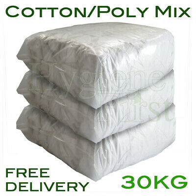 30Kg White Cotton/Poly Mix Wiper Industrial Engineers Garage Rags Wipers