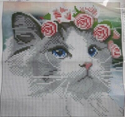 Brand New 5D Diamond Cross Stitch Cat With Rose Tiara Picture 25x25 Cm Uk Seller