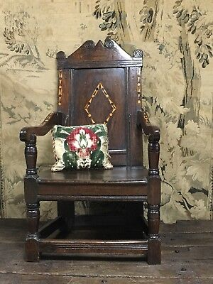A 17th Century Inlaid Oak Wainscot chair