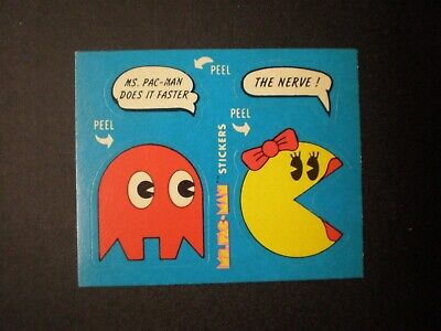 1981 Fleer Ms. Pac-Man Sticker No.15 of 54 Ms. Pac-Man Does It Faster The Nerve